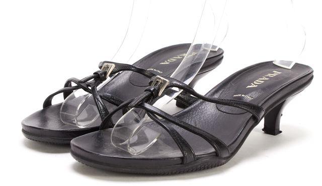PRADA Black Leather Sandal Kitten Heels