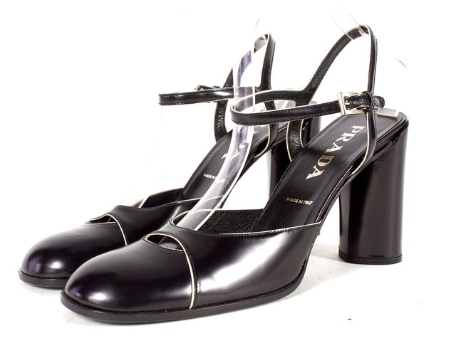 PRADA Black Leather Ankle Strap Block Heel Sandals