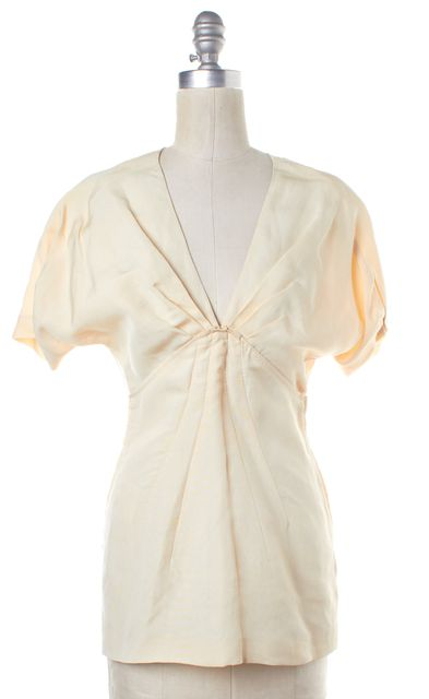 PRADA Beige Pleated V Neck Blouse