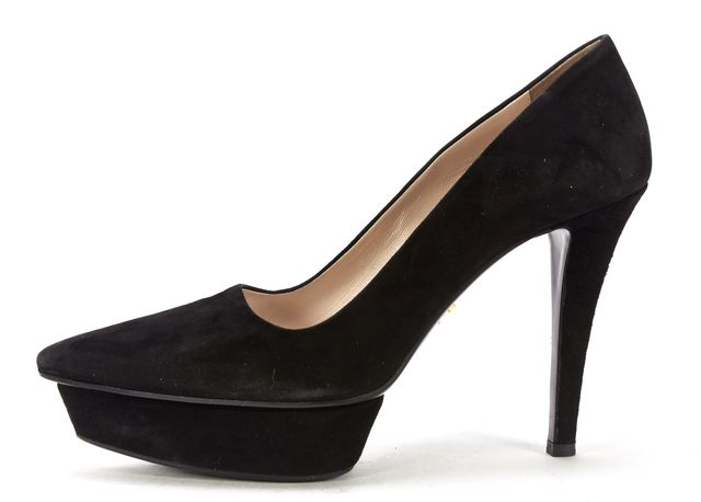 PRADA Black Suede Platform Pointed Toe Pumps
