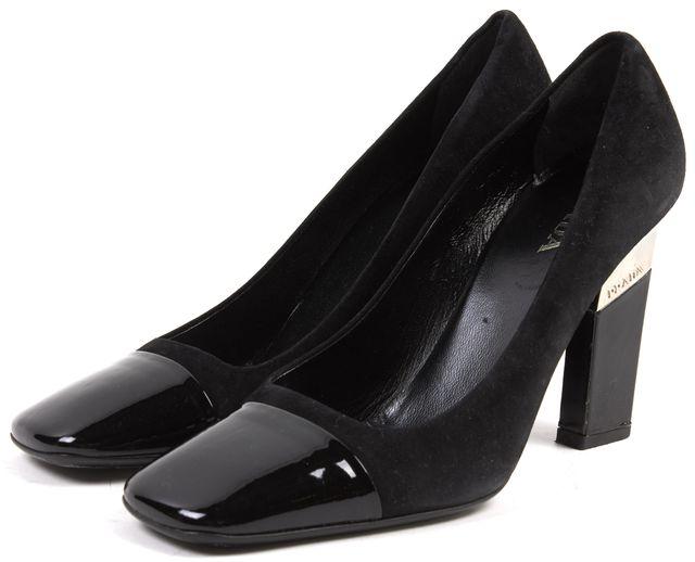 PRADA Black Suede Patent Leather Contrast Heels