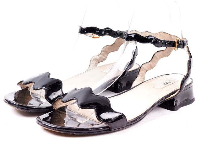PRADA Black Patent Leather Ankle Strap Sandals