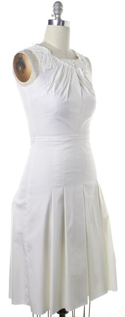 PRADA White Ivory Embellished Ruched Sleeveless