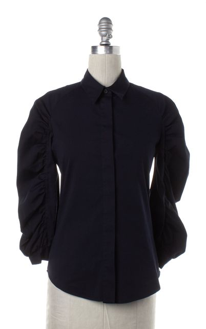 PRADA Navy Blue Gathered Long Sleeve Button Down Shirt