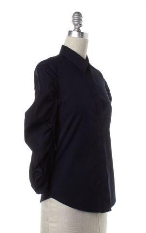PRADA Navy Blue Gathered Long Sleeve Button Down Shirt