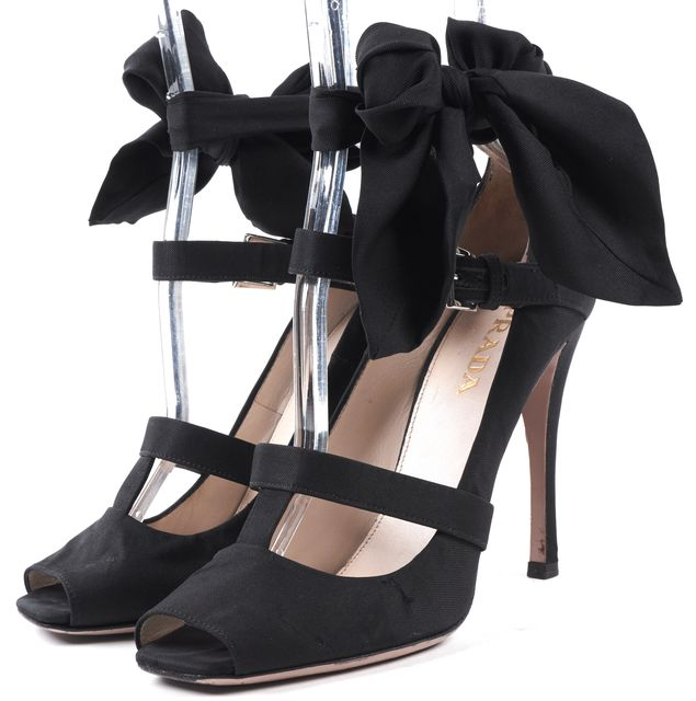 PRADA Black Satin Open Toe T-Strap Bow Heels