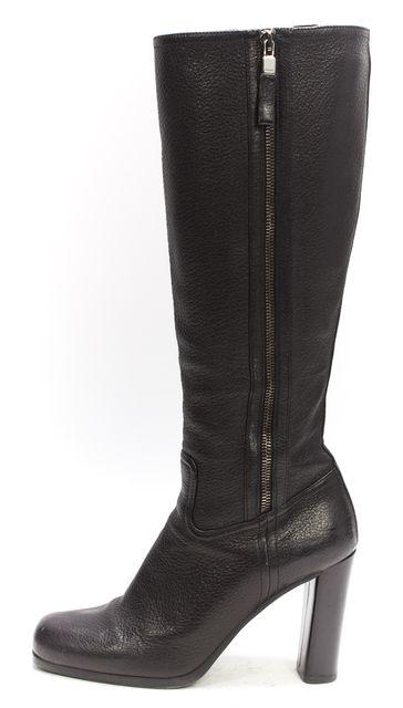 PRADA Black Leather Double Zip Knee High Boots