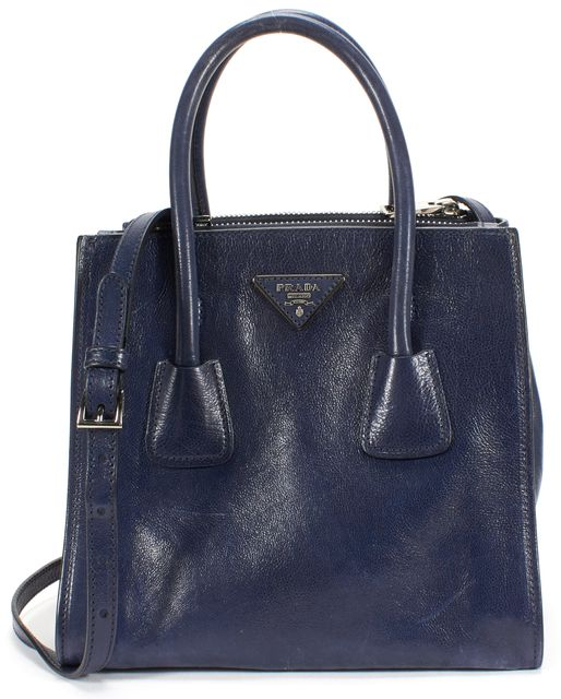 PRADA Navy Blue Glace Calf Leather Twin Pocket Tote Bag