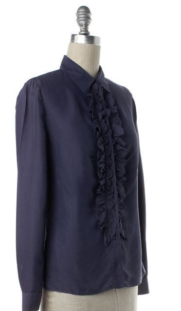 PRADA Blue Ruffled Washed Silk Button Down Shirt