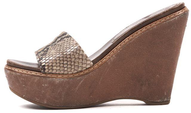 PRADA Brown Snake Skin Open Toe Platform Slides