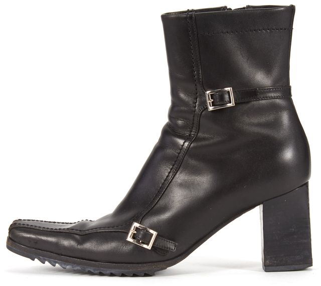 PRADA Black Leather Two Buckle High Shaft Ankle Boot
