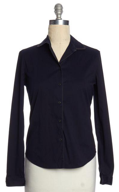 PRADA Navy Blue Gray Trim Button Down Shirt