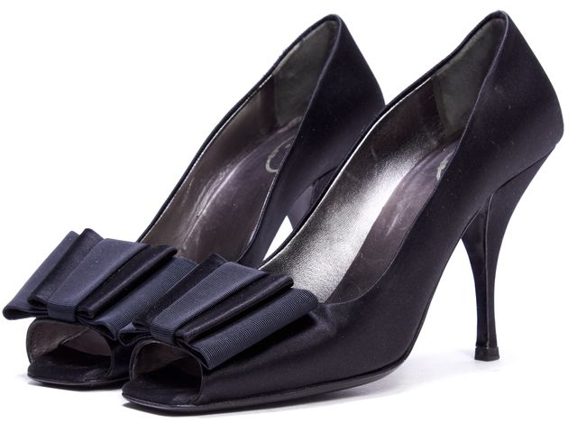 PRADA Black Satin Bow Embellished Peep Toe Heels