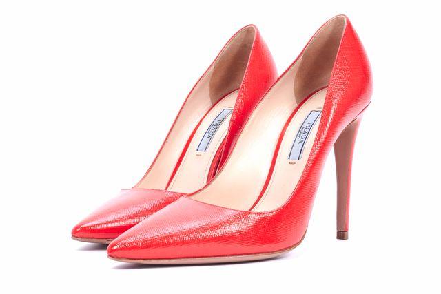 PRADA Red Saffiano Leather Pumps