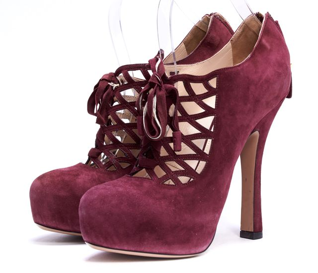PRADA Purple Suede Lace Up Platform Heels