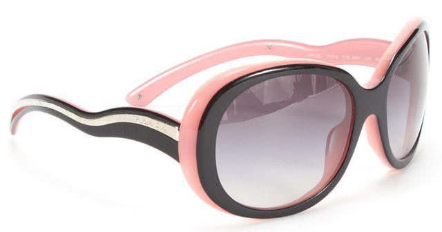 PRADA Black Pink Acetate Frame Gray Lens Round Sunglasses