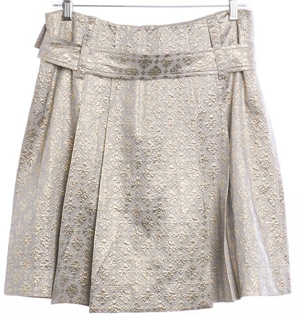 PRADA Metallic Silver Gold Snowflake Pleated Button Down Skirt