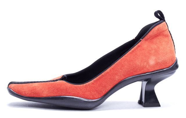 PRADA Orange Suede Contrast Stripe Low Heel