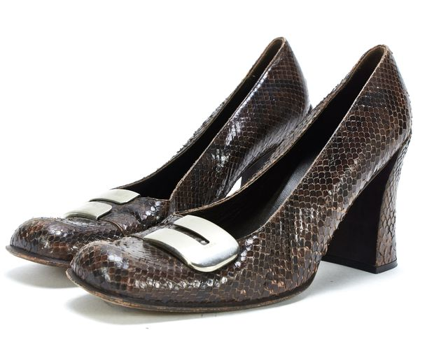 PRADA Brown Snakeskin Square Toe Block Heels