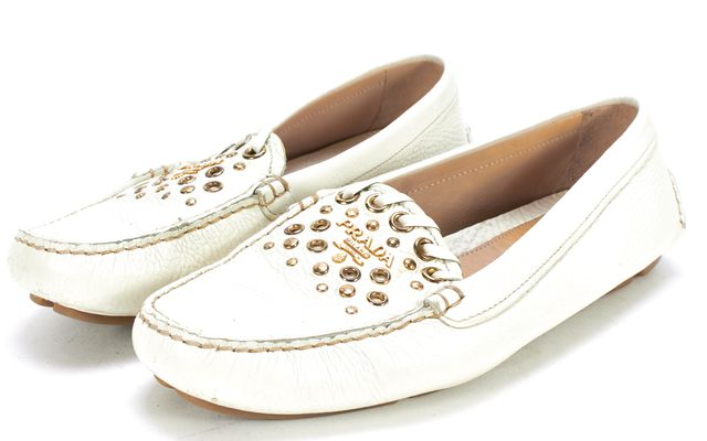 PRADA Ivory Cream Gold Grommet Pebbled Leather Loafers