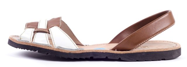PRADA Brown Leather White Patent Leather Sandals