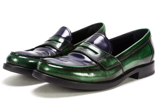 PRADA Green Blue Patent Leather Penny Loafers