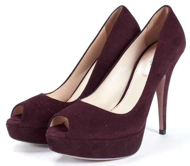 PRADA Burgundy Purple Suede Peep Toe Platform Pumps