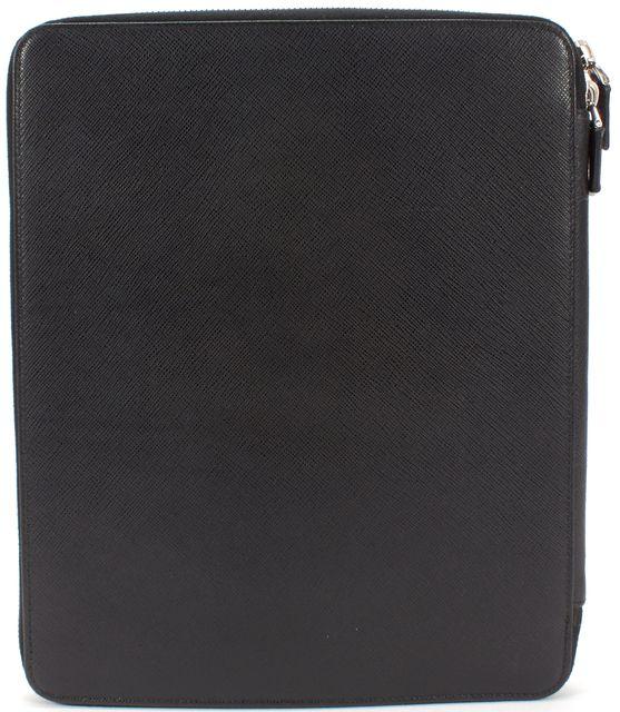 PRADA Black Saffiano Leather Zip Around Tablet Case