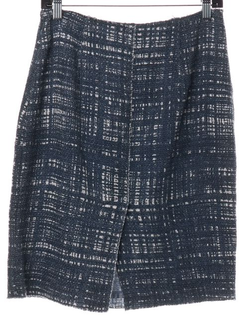 PRADA Blue White Tweed Straight Skirt
