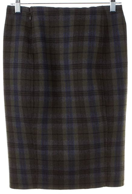 PRADA Green Gray Brown Blue Plaids Wool Pencil Skirt