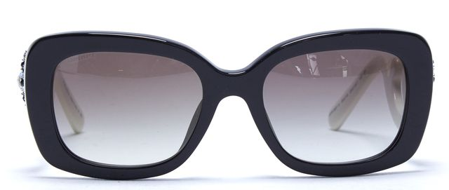 PRADA Black Acetate Frame Crystal Embellished Arm Gradient Lens Rectangular Sunglasses