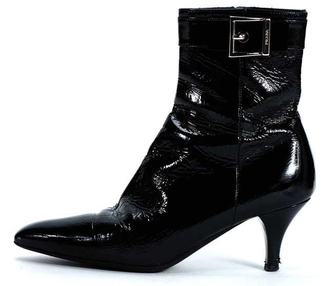 PRADA Black Patent Leather Buckle Pointed Toe Ankle Low Heel Boots