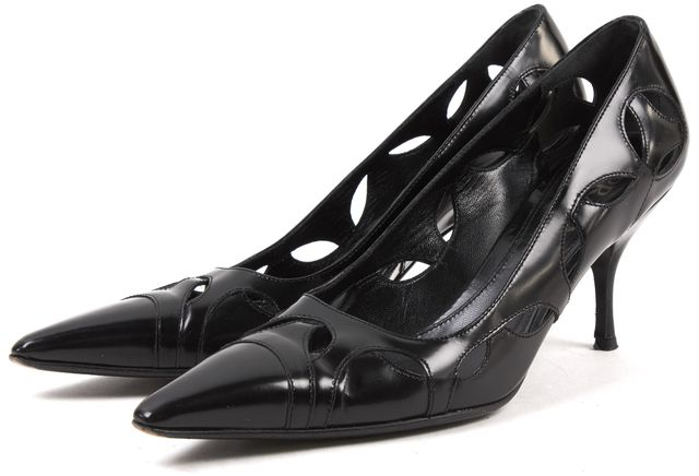 PRADA Black Leather Cut Out Pointed Toe Heels