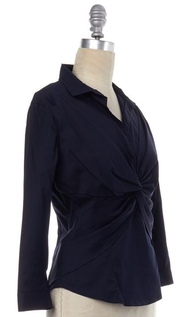 PRADA Navy Blue Cotton Button Down Top