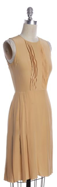PRADA Beige Silk Sleeveless Sheath Dress