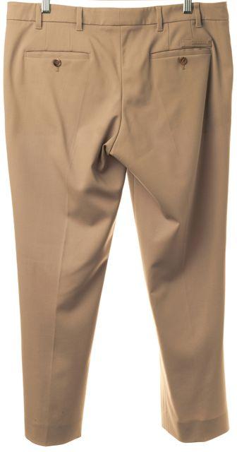PRADA Khaki Creased Straight Leg Wool Dress Pants