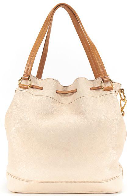 PRADA Off White Pebbled Leather Bucket Tote Shoulder Bag