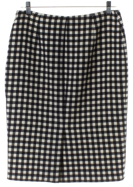 PRADA Black Ivory Check Pencil Skirt