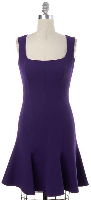 PRADA Purple Wool Fit Flare Dress