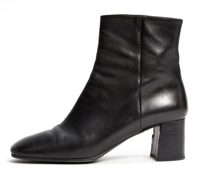 PRADA Black Leather Square Toe Ankle Boots
