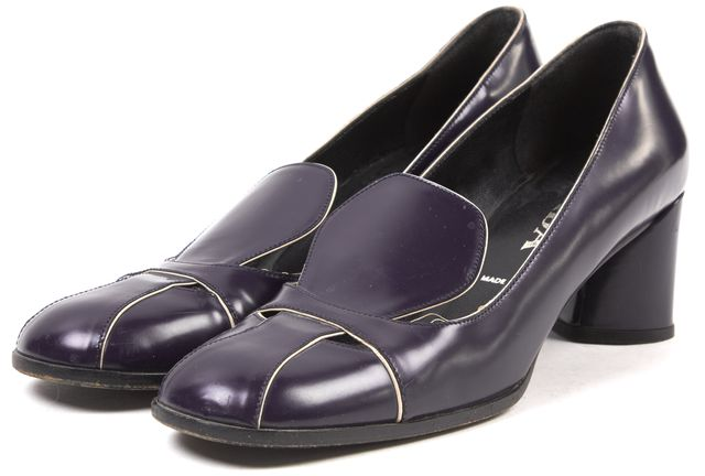 PRADA Purple Leather Block Heel Loafers