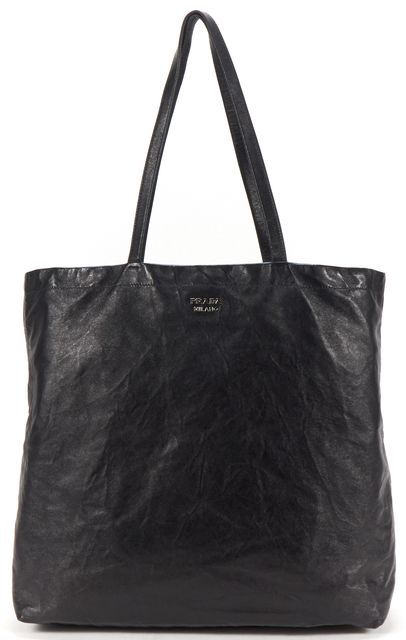 PRADA Black Blue Nappa Leather Reversible Tote Bag