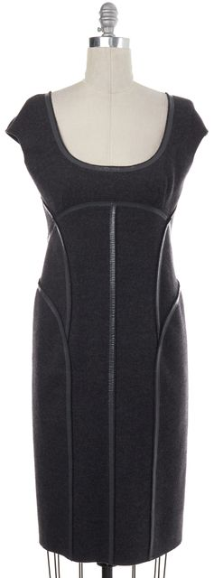 PRADA Gray Wool Sheath Dress