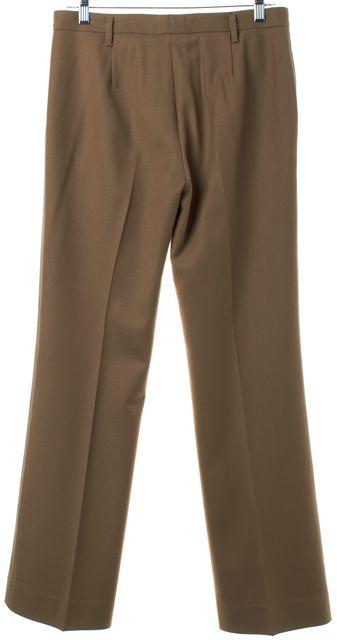 PRADA Brown Wool Straight Leg Pleated Trousers Pants