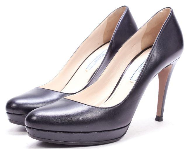PRADA Black Leather Platform Pump Heels