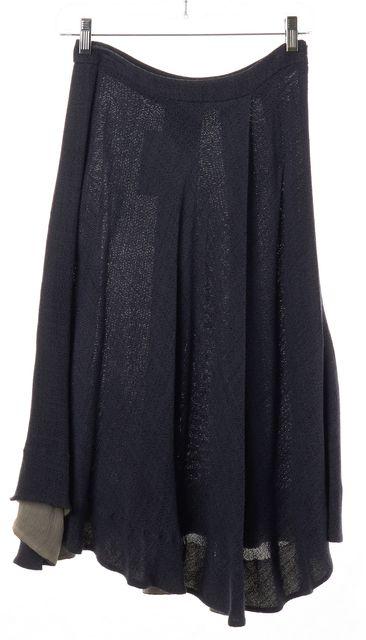 PRADA Gray Knit Pleated High Low Hem Skirt