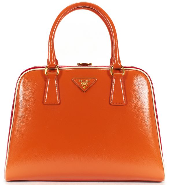 PRADA Red Orange Leather Briefcase Top Handle Bags