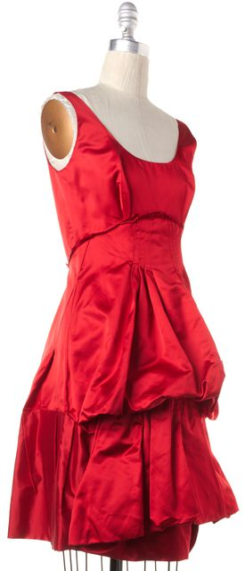 PRADA Red Silk Satin Pleated Sleeveless Scoop Neck Bubble Dress