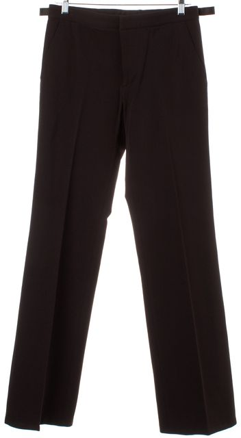 PRADA Brown Straight Leg Pleated Trousers Pants