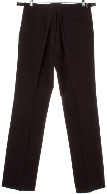 PRADA Brown Straight Leg Pleated Trousers Pants